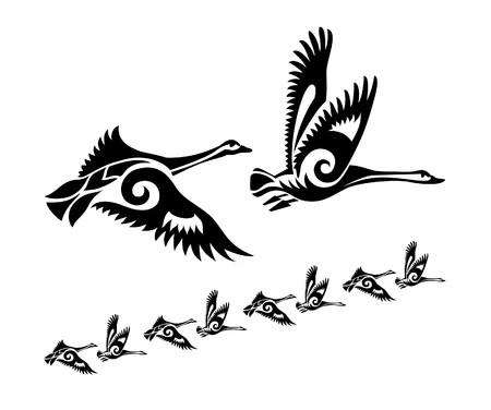 swan in tattoo style