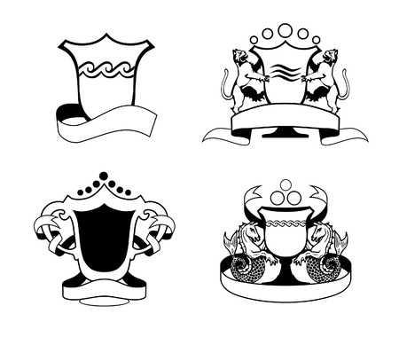 variants: four variants of modern arms (workpiece for logotype or trademark)