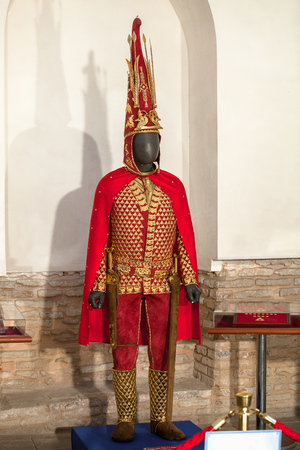 A copy of the parade armor Saka king, known as the Issyk Golden Man, V-VI century BC.Altyn Adam – the symbols of KazakhstanTurkestan, Kazakhstan - april 22, 2014:  Inside the Mausoleum of Khoja Ahmed Yasawi Editorial