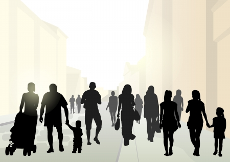 Stylized flat silhouettes of pedestrians at street in bright sunshine