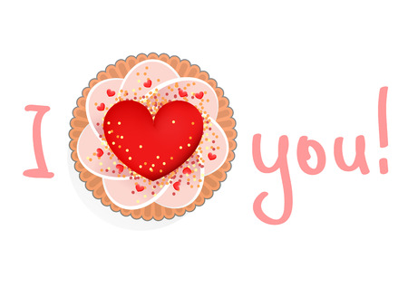 sweetness: Pink cream cake with big red heart and declaration of love Illustration