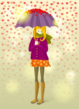 unanswered: Wistful girl with an umbrella under rain of small hearts
