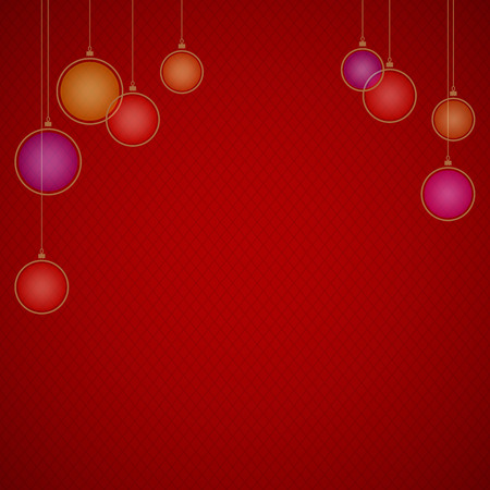 rhomb: Red festive background with grid pattern from little rhombs,Christmas decorations at the top part and  with small shadows at the edges