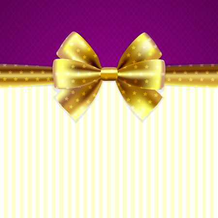 solemnity: Violet background for congratulation with gold spotted bow and ribbons, with vignette and place for text in the center Illustration