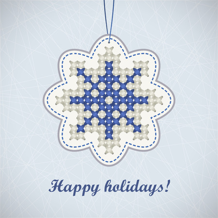criss cross: Blue embroidered crosswise snowflake on abstract striped background with vignette