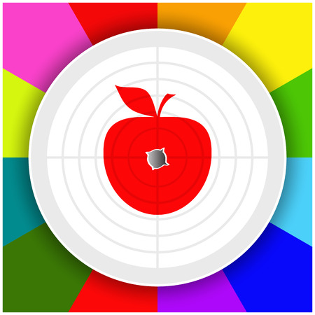 Target with  image of red apple in the center and  bullet hole in the center of this apple