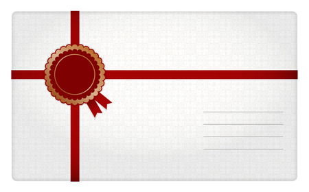 addressee: White-red bicolor gift envelope with decoration in left corner and straps for fixing