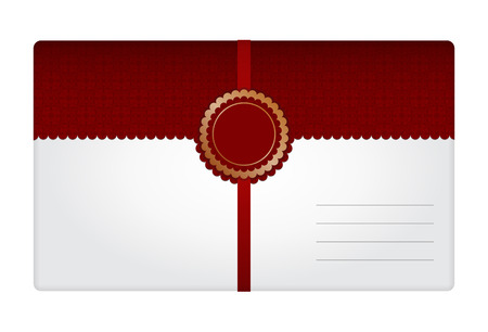addressee: White-red bicolor gift envelope with decoration in the center and straps for fixing