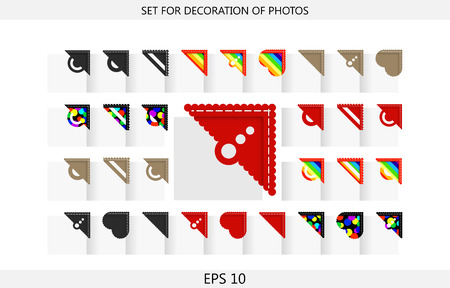 Set of 36 colorful corners for decoration of photos in the photoalbum Vector