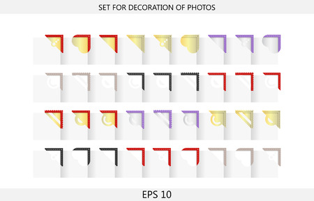 Set of of 36 bicolor corners for decoration of photos in photoalbums Vector