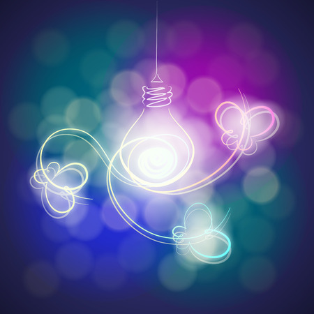 Stylized lighting bulb and light lines in the form of butterflies around it on the colorful background photo