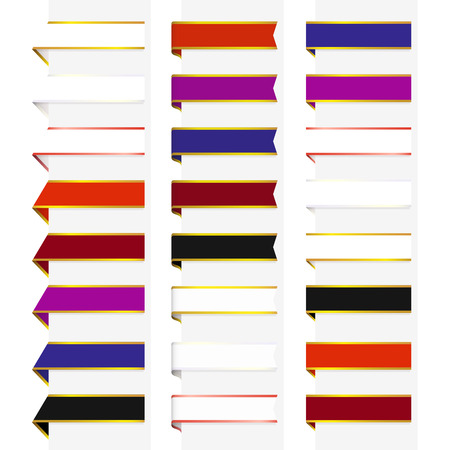 Set of 24 decorative multicolored bookmarks with gold and silver borders Vector