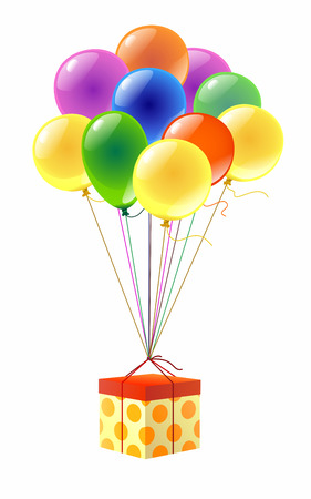 Colorful gift box and few colorful balloons photo