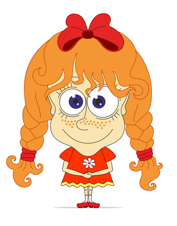freckles: Caricature funny girl with red hair, pigtails, freckles and bow