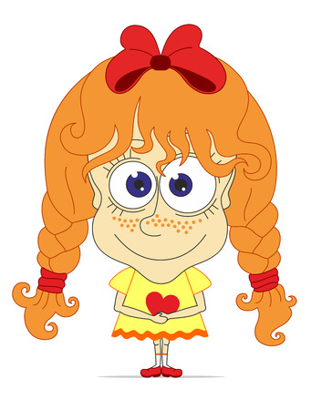 freckles: Caricature funny girl with red hair, pigtails, freckles, bow and heart in her hands