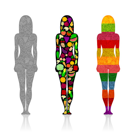 Silhouettes of three slim girls with pattern of fruit and vegetables on white background