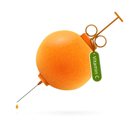 enten: Spuit in de vorm van heldere sappige sinaasappel met tag en tekst