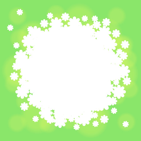 splashy: Green with gentle grass and white flowers Illustration