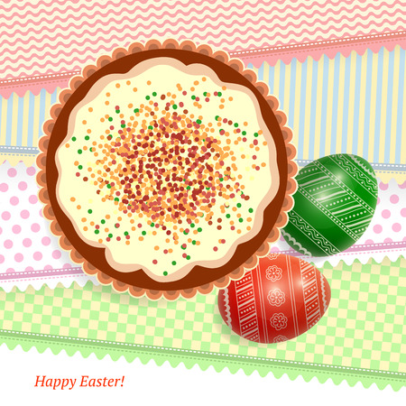 easter cake: Illustration with Easter cake and patterned Easter eggs on decorative with place for text at the bottom
