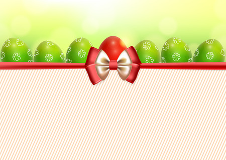 solemn: Festive background with six green patterned Easter eggs and one red Easter egg with bow and place for text Illustration
