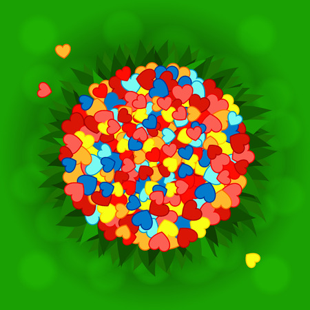 splashy: Bright background with lush green grass and bunch of colorful hearts