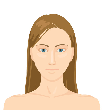 facial features: Stylized portrait of woman with long dark hair without makeup