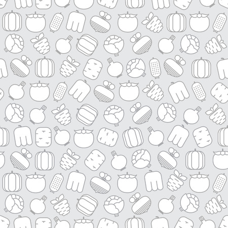 beets: Seamless pattern with carrots, beets, tomatoes, cabbages, peppers, cucumbers, potatoes, onions and pumpkins on gray background