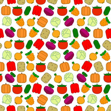 onions: Seamless pattern with carrots, beets, tomatoes, cabbages, peppers, cucumbers, potatoes, onions and pumpkins on white background Illustration