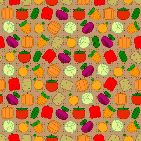 onions: Seamless pattern with carrots, beets, tomatoes, cabbages, peppers, cucumbers, potatoes, onions and pumpkins on patterned background Illustration