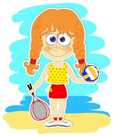 Funny redhead girl with volleyball ball and rackets for badminton Vector