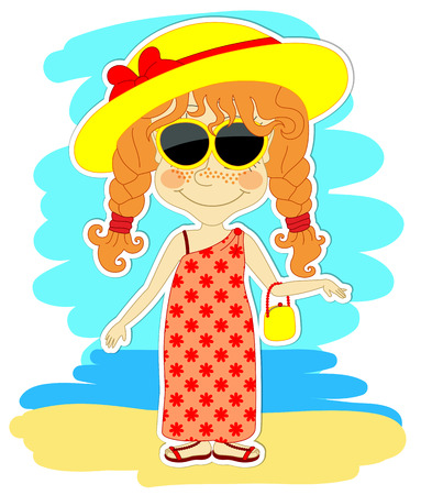 Funny redheaded girl with big yellow hat with red bow on a walk