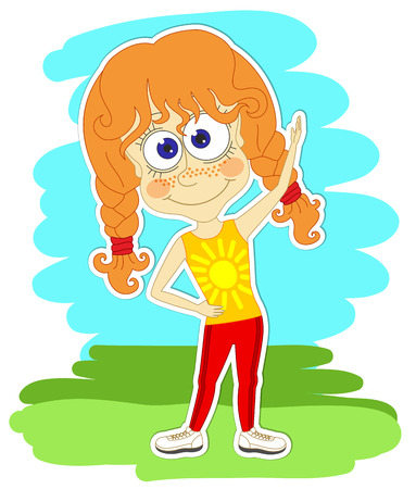 Funny redhead girl in sportswear is doing gymnastic exercises in the park Illustration