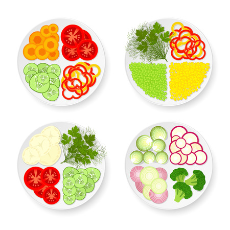 trimmings: Four white plate withcucumbers, tomatoes, Brussels sprouts, radishes, carrots, onions, potatoes, bell peppers, green peas, corn, broccoli, dill and parsley