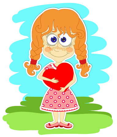 red haired woman: Funny redhead girl in beautiful dress is keeping big red heart in her hands Illustration