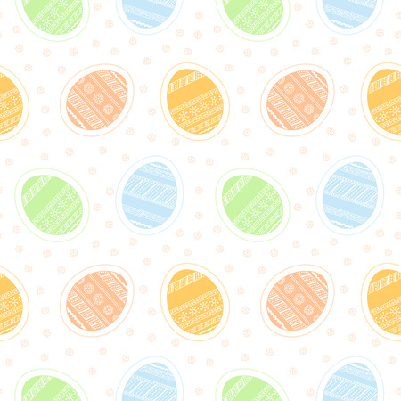 Background with seamless pattern with colored decorative Easter eggs Vector