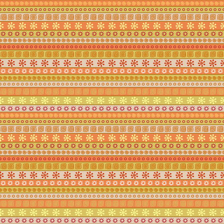 Seamless pattern with simple geometric and floral elements Illustration