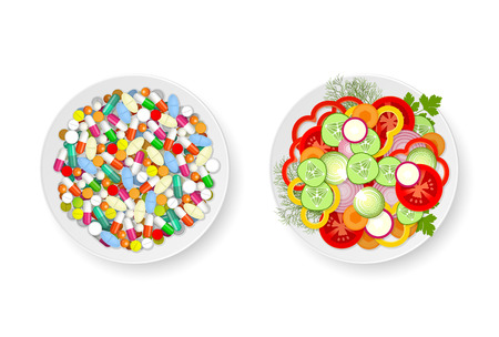 Plate with assorted fresh vegetables and plate with set of different tablets, pills and capsules Иллюстрация