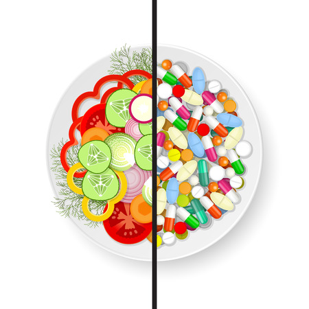 side dish: Half of plate with assorted fresh vegetables and half of plate with set of different tablets, pills and capsules Illustration