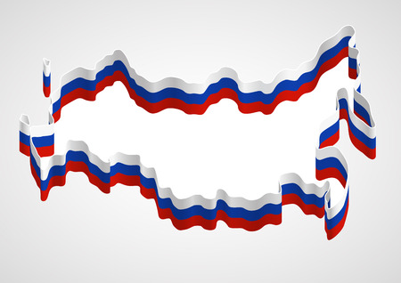 generalized: Stylized generalized designation of Russia s borders using a ribbon with tricolor of Russian flag