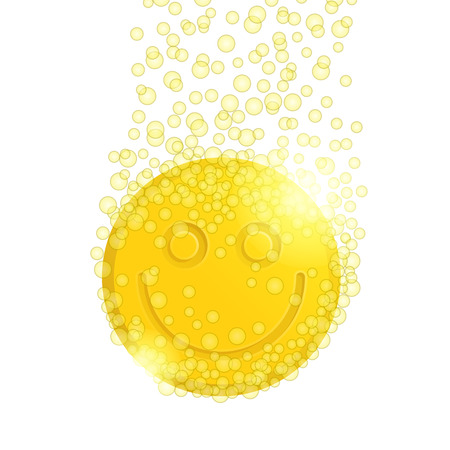 vesicle: Yellow pill with happy smiley and bubbles around on white background