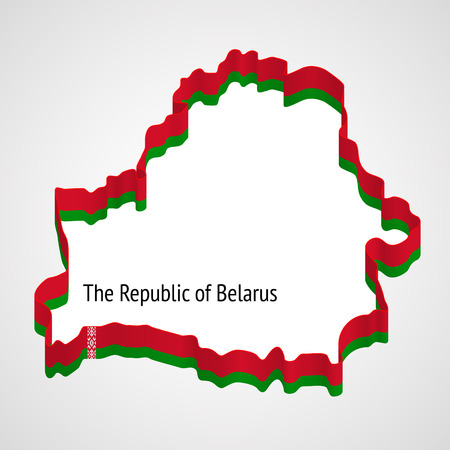 generalized: Stylized generalized designation of Belarus borders using a ribbon with colors and ornaments of Belarussian flag Illustration