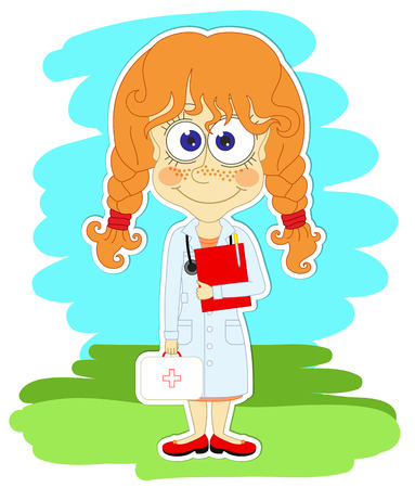 Funny red-haired girl-doctor white coat with doctor s suitcase and with red folder in her hand Vector