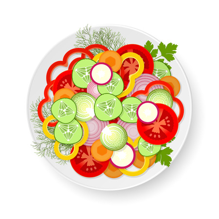 White plate with sliced cucumbers, tomatoes, Brussels sprouts, radishes, carrots, onions, bell peppers, parsley and dill