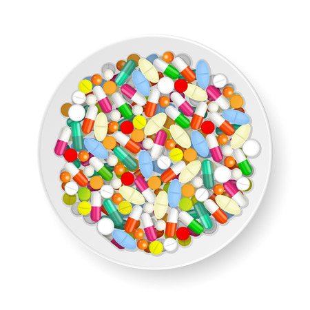 bane: Plate with set of different tablets; pills and capsules Illustration