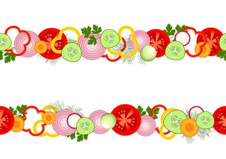 side dish: Seamless pattern with sliced fresh vegetables and greens