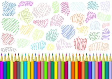 businesslike: Fondo creativo con l�pices de colores brillantes y el patr�n de luz con l�neas de color Vectores