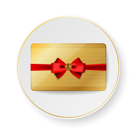 honorarium: Golden gift bank card with red bow on white saucer with gold trim Illustration