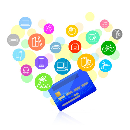 Blue bank card and colored icons of potential purchases around it