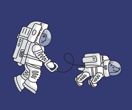 pioneer: L'astronaute dans la combinaison spatiale est la marche avec un chien dans la combinaison spatiale dans l'espace Illustration