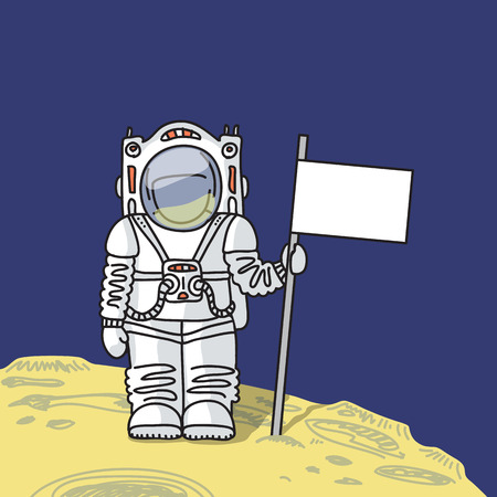 spacesuit: Astronaut in spacesuit is standing with flag on surface of  planet Illustration